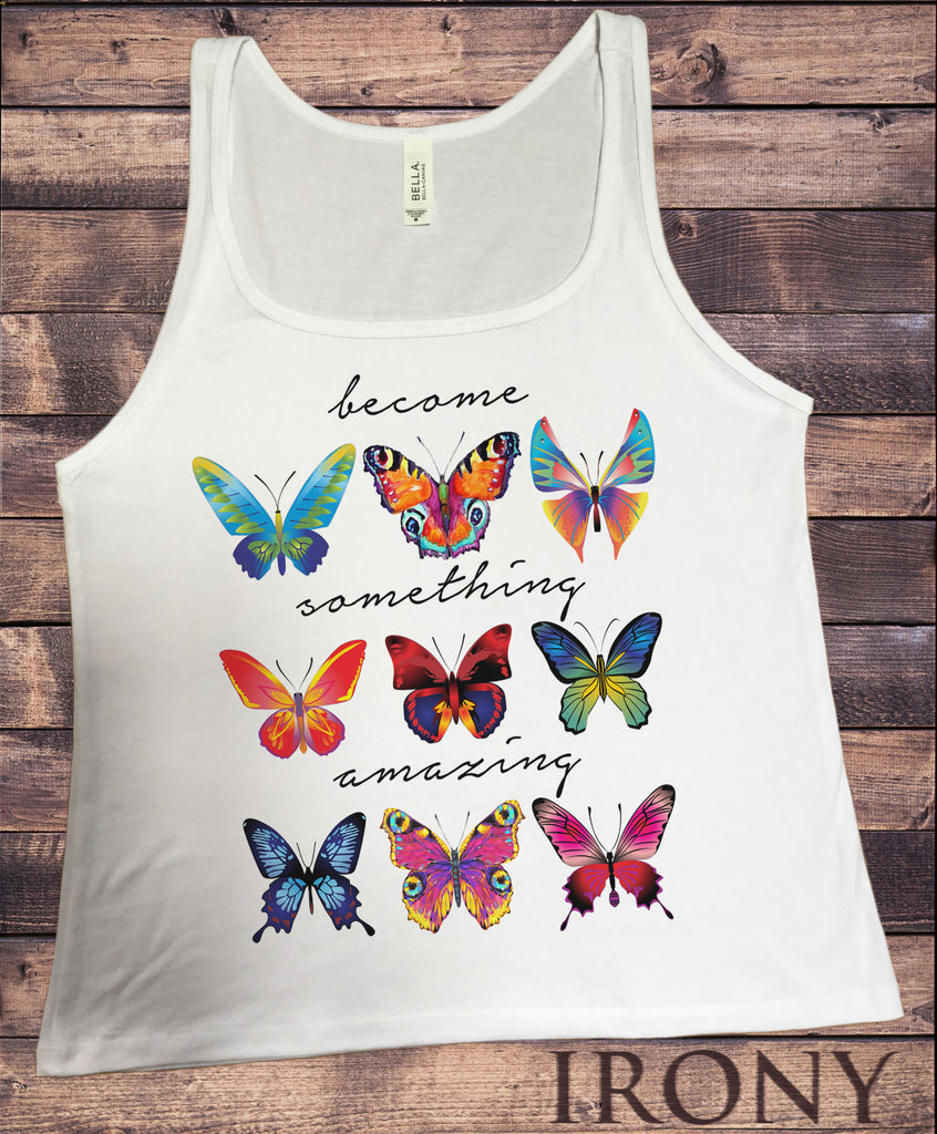 "Jersey Tank Top ""Become Something Amazing"" Positive Butterfly Collection Print JTK863"