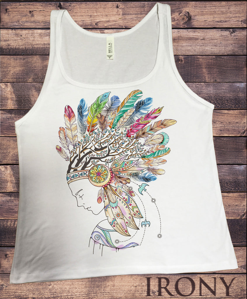 JTK927 Jersey Tank Top Tribal Red Indian Native American Feathers Culture