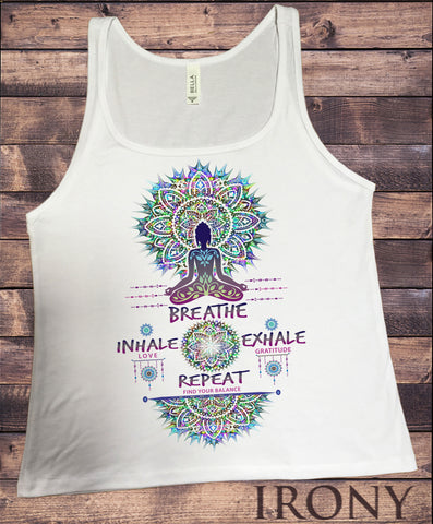 Jersey Tank Top Buddha Chakra Meditation Breathe, inhale love, exhale gratitude and repeat Print JTK935