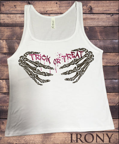 "Jersey Top Skeleton Hands Bones Choke Halloween ""Trick or treat"" Horror JTK995"