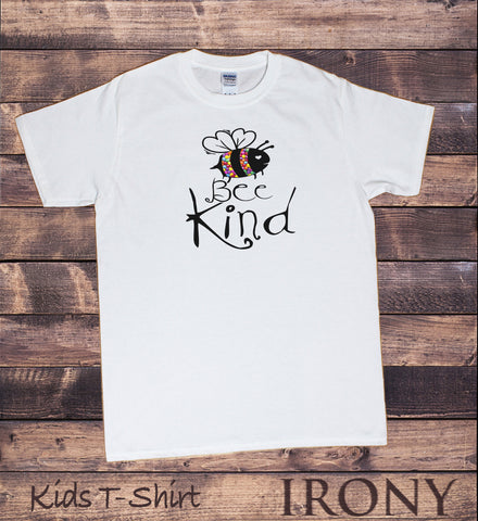 Kids White T-Shirt Bumble bee slogan smarties 'Bee Nice' Funny pun Slogan Print KDS1750