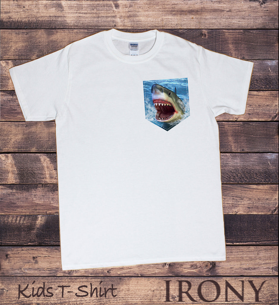 Kids White T-Shirt Shark Pocket - Deep Blue Sea Jaws Shark Print KDS993