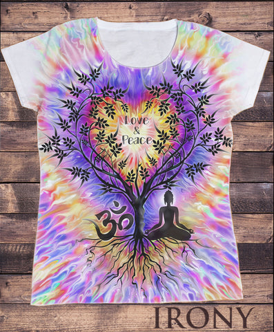 Women's 'Love & Peace' Buddha Yoga Meditation Om India zen OM Tree Heart Sublimation Print SUB1071