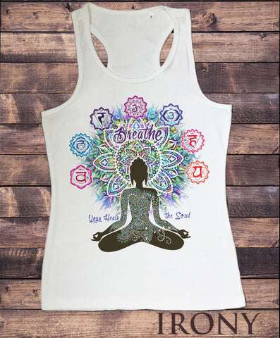 Women's Vest Top, Aztec 'Yoga Heals the Soul' Buddha Chakra Meditation SUB1093