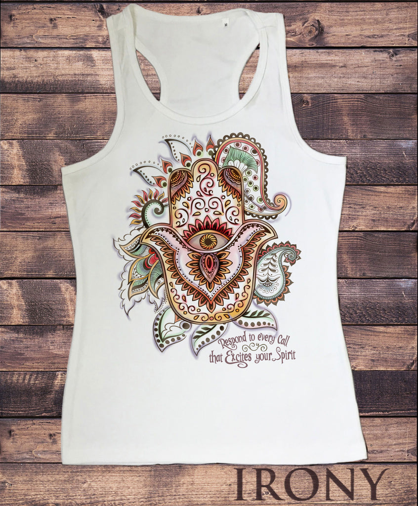 Women's Vest Top, Om India zen Positive Slogan Hamsa Hand Of Fatima SUB1119