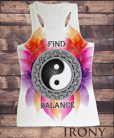 "Women's Vest Top,""Find Balance"" Flowery Ying Yang Sublimation Print SUB1231"