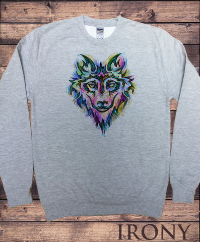 Men's Sweatshirt Colourful Wolf Icon -Fox Canidae Family Print SWT1683