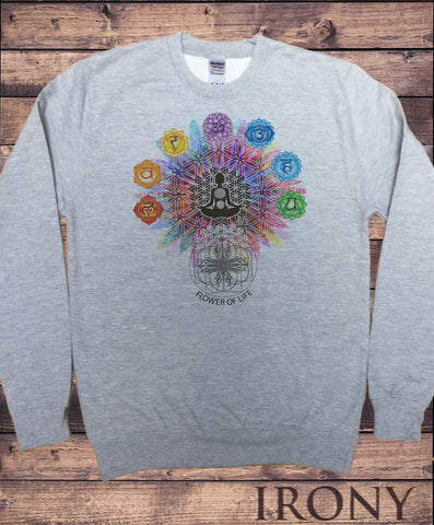 "Men's Sweatshirt ""Flower Of Life"" Buddha Chakra Symbols Geometric Design SWT796"