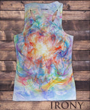 Women's Vest Top, Peace CND Paintbrush Splatter Effect- Colourful Sublimation Print SUB1235