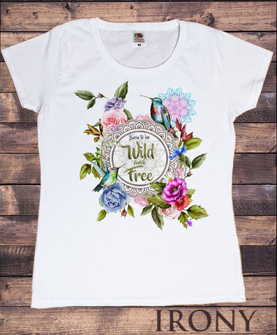 Women's 'Wild and free' dreamer Parrots & flowers Colourful Print TS1007