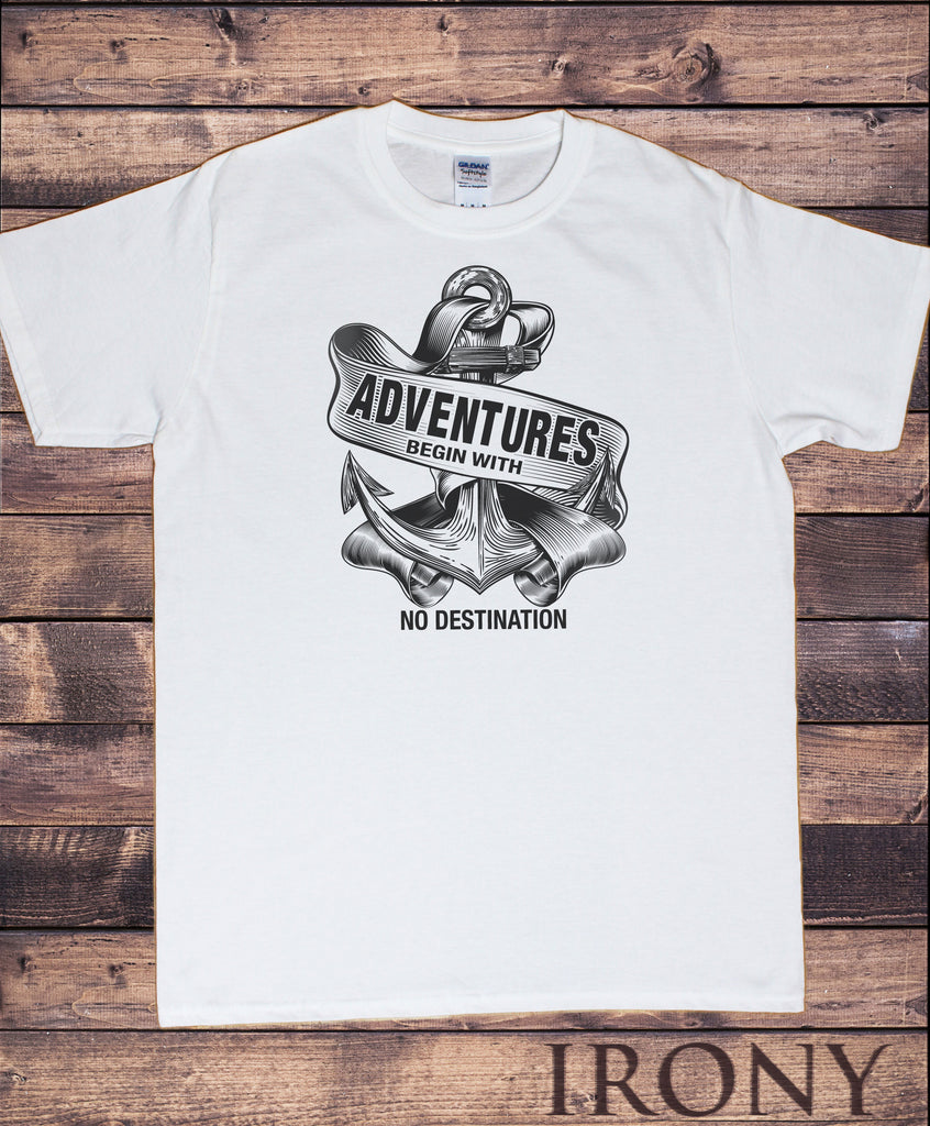 Men's White T-Shirt 'Adventures begin with no destination' Anchor Print TS1009