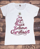 Women's T-Shirt Christmas Xmas Tree Joy, Love, Peace, Believe, Christmas Tree Novelty Glitter Effect TS1032