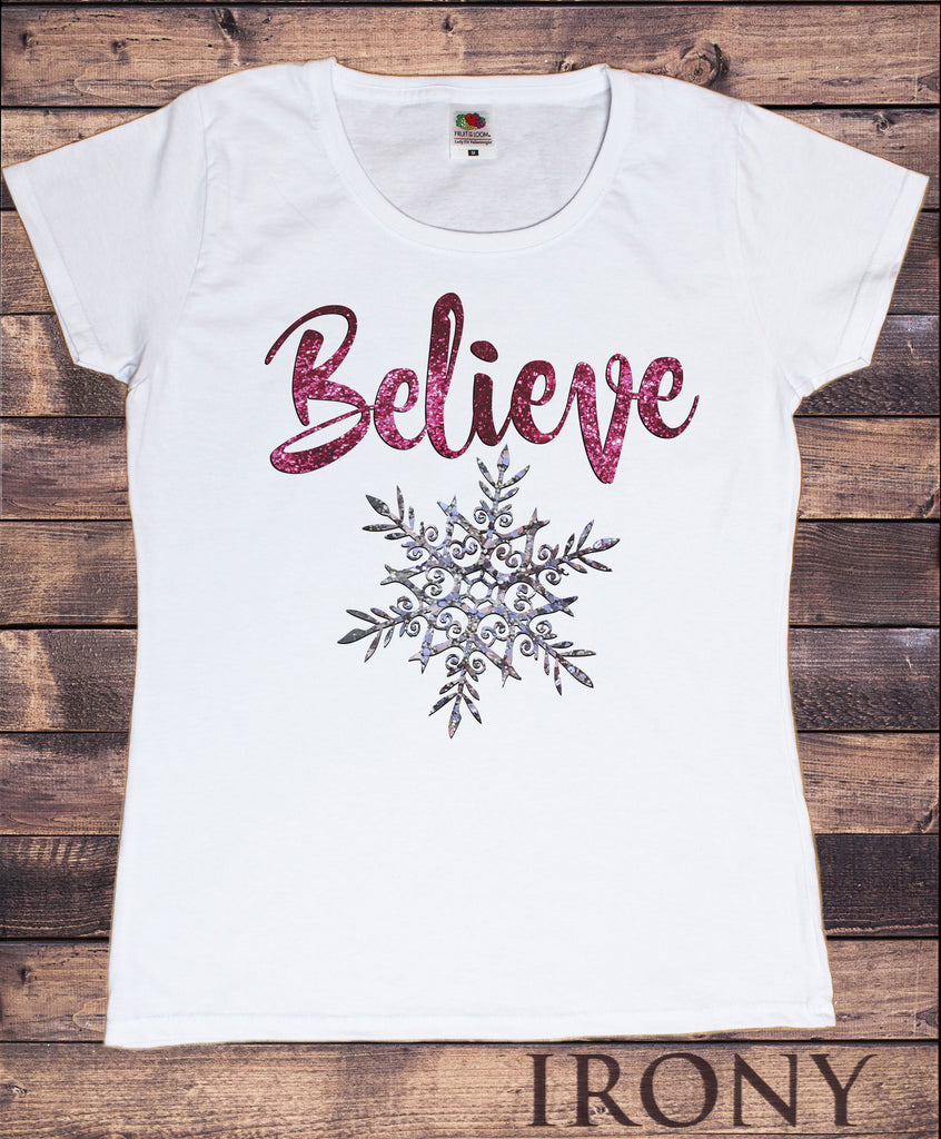 Women's T-Shirt Christmas Xmas 'Believe' Snowflake Novelty Glitter Effect TS1064