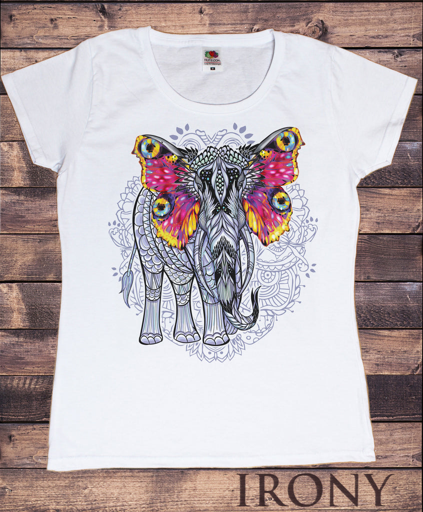 Women's T-shirt Beautiful Ethnic Elephant Colourful Butterfly Ears Line art Print TS1082