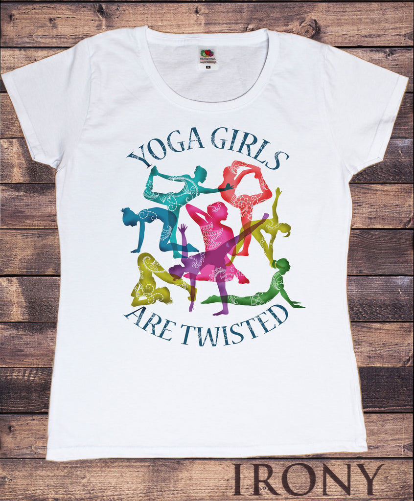 Women's 'Yoga Girls Are Twisted' Meditation Poses Funny Slogan Print TS1096