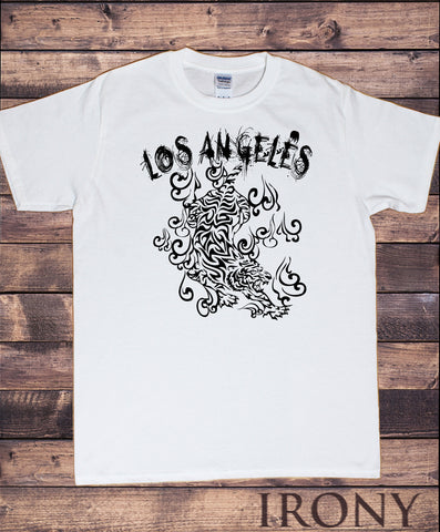 Mens T-Shirt USA Los Angeles- Rock Fire Waves Design Print TS1112
