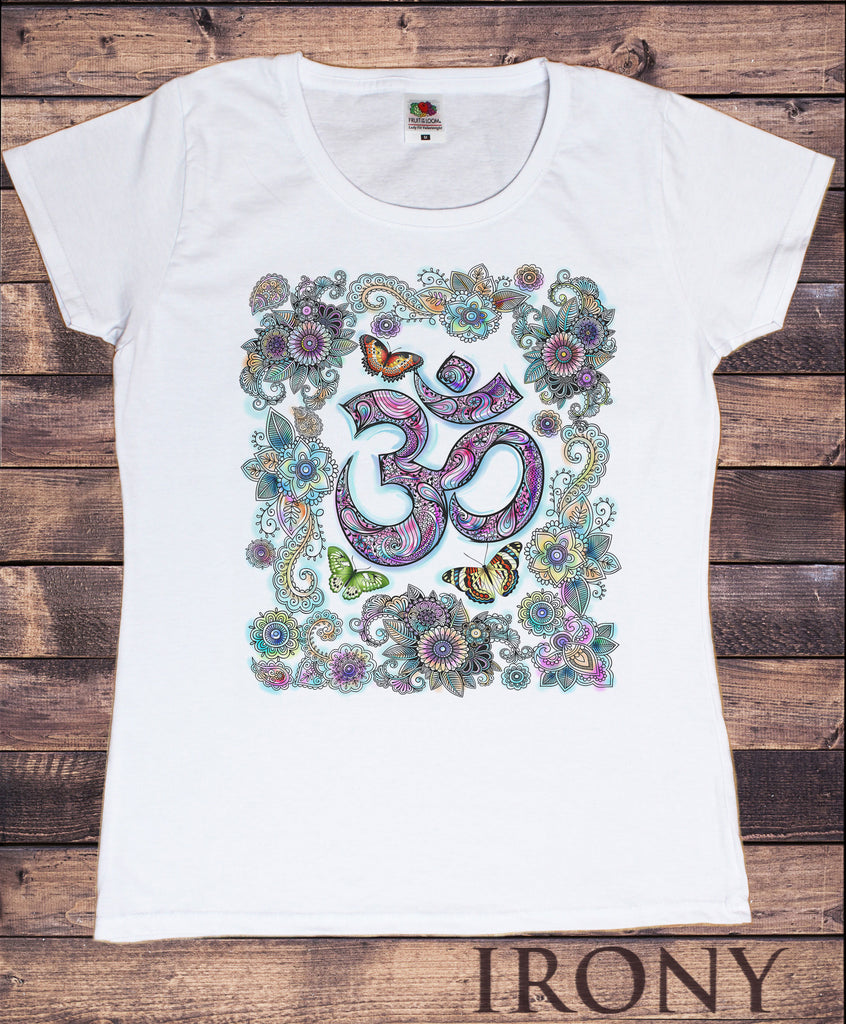 Women's Top Om India zen Beautiful Butterflies Floral Flowers Print TS1116