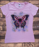 Women's Top Beautiful Butterflies Splatter paint Floral Print TS1140