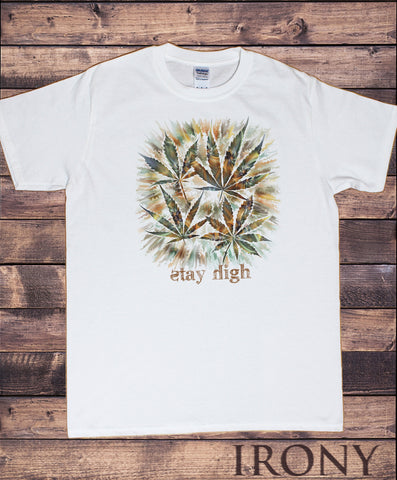 Men's White T-Shirt 'Stay high' Cannabis Khalifa Prosto Medical Marijuana Air Brush TS1158