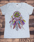 Women's Top Dreamcatcher Tribal Red Indian Native American Feathers TS1164
