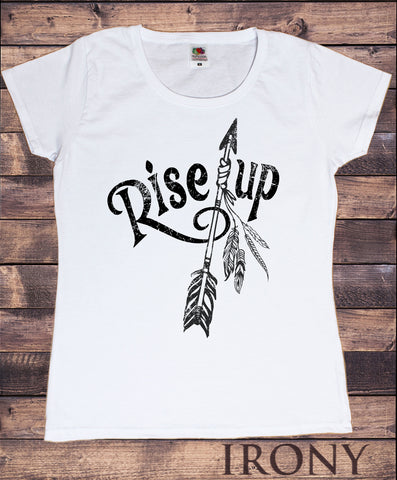 Women's T-Shirt Dreamer feathers and arrow Rise Up Design Print TS1174
