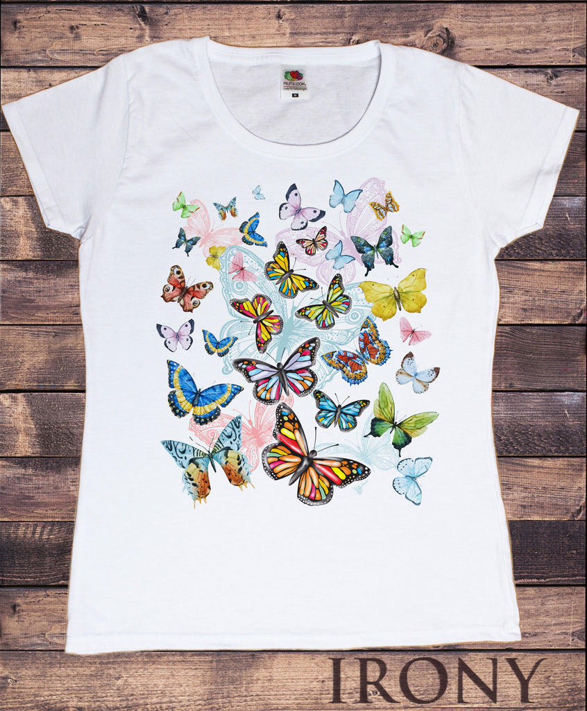 Women's White T-Shirt With Scattered Butterflies Colourful Print TS1192