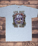 Men's T-Shirt Rock on Rebel Skeleton 'Live fast, die last' Metal Print TS1205
