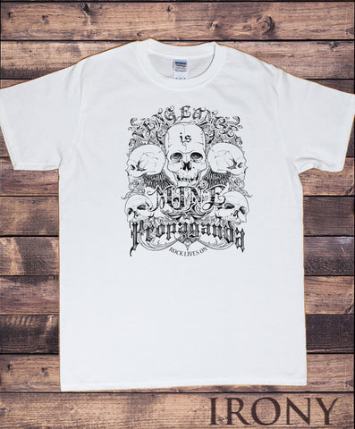 Men's T-Shirt Rock Skeleton 'Mine propaganda, rock lives on' Punk Metal Print TS1206