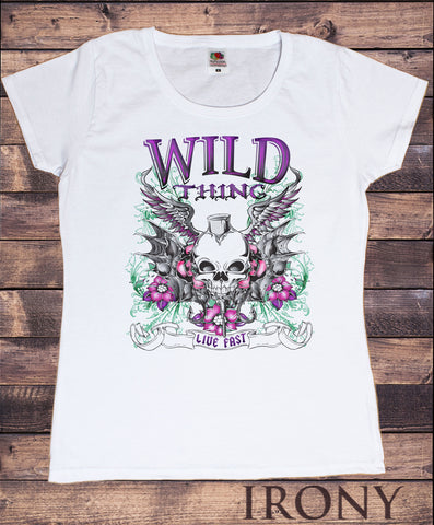 Women's Wild Thing Born free Rock Chick Metal Skeleton ROCK N ROLL Print TS1208