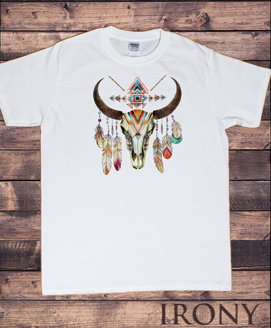 Mens T-Shirt Cow Skull American Feathers Red indian Skeleton Aztec Print TS1233