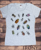 Women's Tee Creepy Crawlers- Insects All Over- Flies Bugs Print TS1246