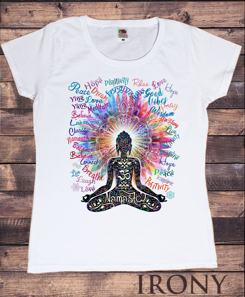 Women's T-Shirt Namaste Buddha flowers-Positive Quotes colour explosion TS1318