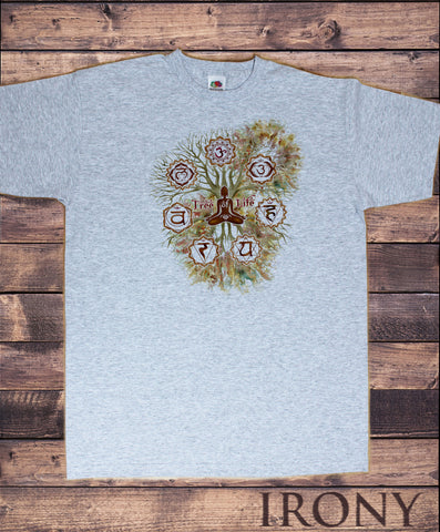 Mens T-Shirt 'Tree Of Life' Buddha Yoga Meditation Chakra Symbols Om zen TS1423