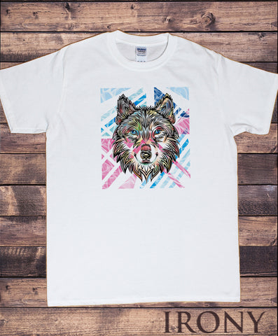 Men's White T-Shirt Colourful Wolf Icon - Colour Outline Print TS1438