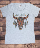 Women's Top Be Wild Cow Skull American Feathers Red indian Aztec TS1439