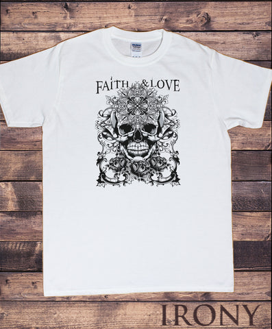 Men's T-Shirt Rose Skull Gothic Style, Faith & Love Print TS1534