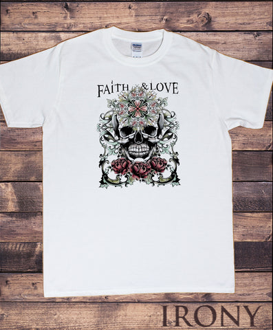 Men's T-Shirt Skulls Gothic Faith and Love Colourful Print TS1540