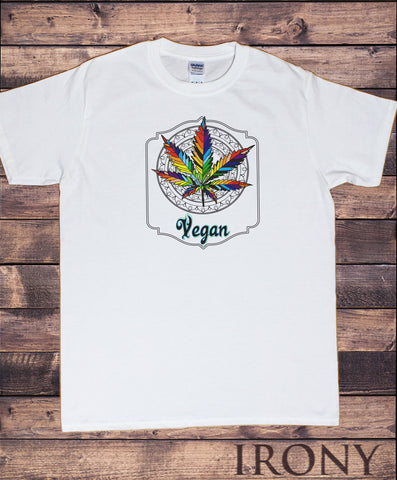 Mens T-Shirt Cannabis Leaf Vegan Graphic Slogan Design TS1565