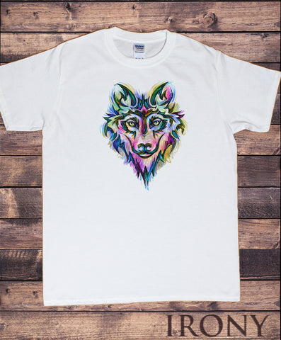 Men's T-Shirt Colourful Wolf Icon -Fox Canidae Family Print TS1683