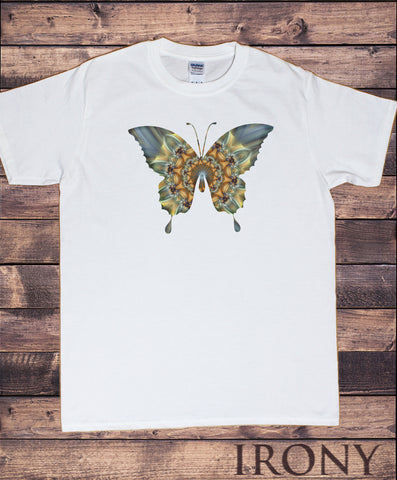 Mens White T-Shirt With Butterfly Pattern Print -Men/Fashion Print TS1722