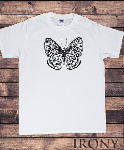 Mens T-Shirt With Butterfly Line Pattern Print -Men/Fashion Print TS1725