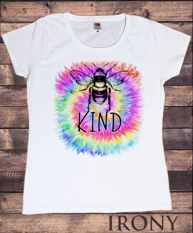 Women's T-Shirt Bumble bee slogan smarties 'Bee Nice' Funny pun Slogan TS1760