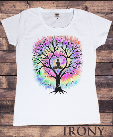 Women's T-Shirt Inhale Om Exhale Buddha Yoga Meditation Tree Zen-Print TS1761