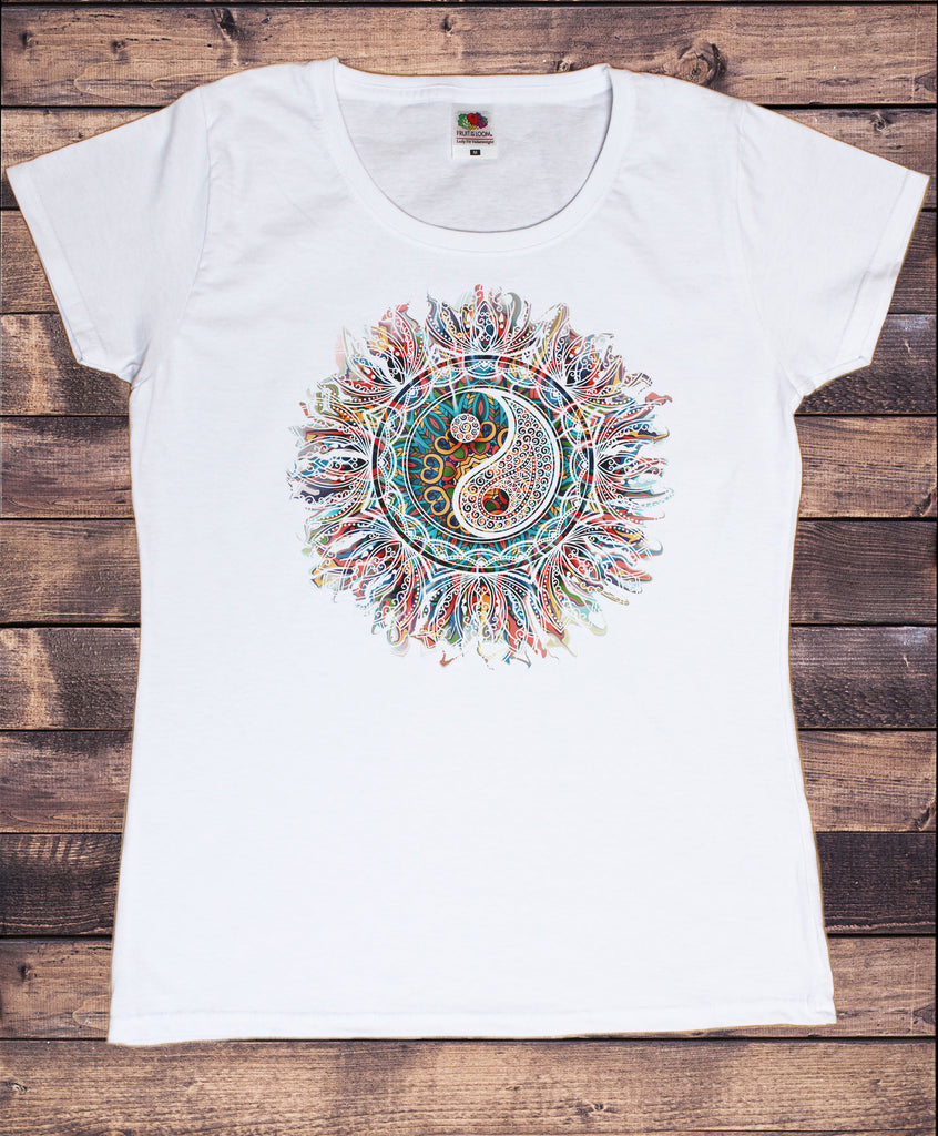 Women's T-Shirt Om Ying Yang Art Tapestry Ethnic Zen India TS1777