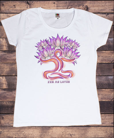 Women's T-Shirt Zen as Lotus Om Yoga Meditation Pose India Zen Graphical Print TS1798