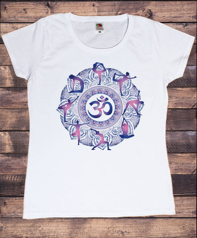 Women's T-Shirt Om Aum Yoga aztec flowers India Zen Print TS1805