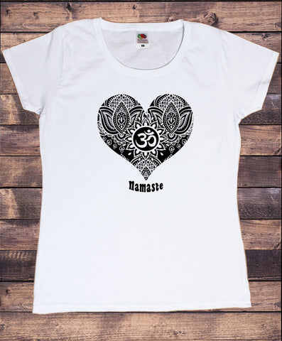 Women's T-Shirt Namaste Om Mediation Love Heart Ethnic Pattern Print TS1806