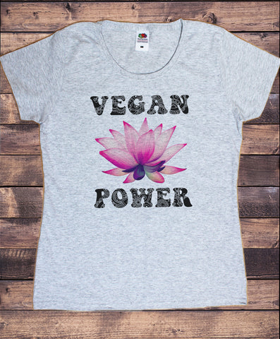 Women's T-Shirt Vegan Power Flowery Lotus Veganism Print TS1837