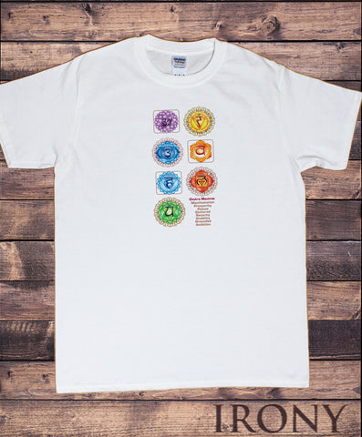 Mens T-Shirt Om Yoga Chakra Symbols Meanings Meditation India Zen-Print TS1845