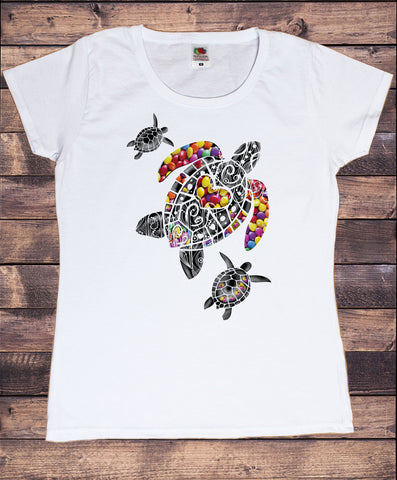 Women's T-Shirt With Turtle Print Smarties Print TS1856